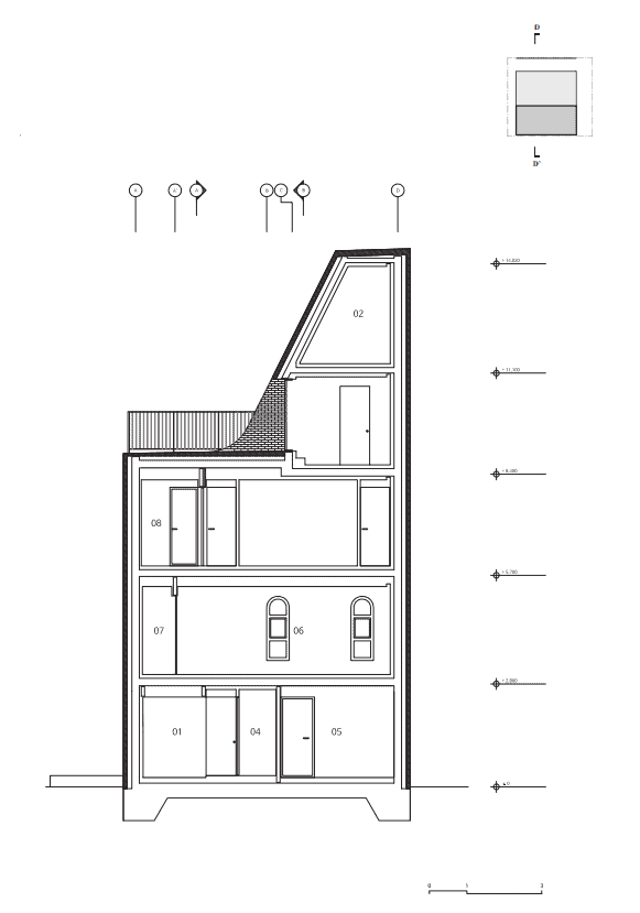 This is an illustrative representation of the section four cross section of the house.