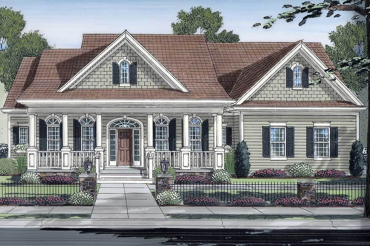 Single-Story 3-Bedroom Country Home with Three-Car Garage