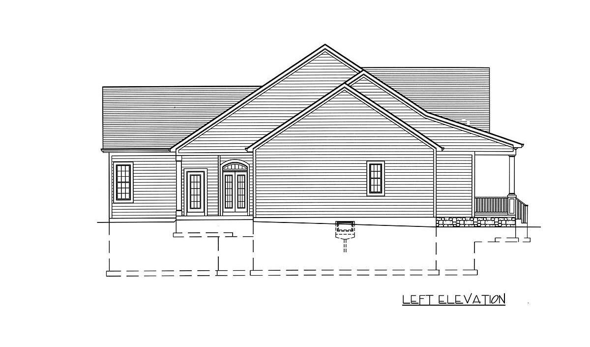 Left elevation sketch of the single-story 3-bedroom country home.