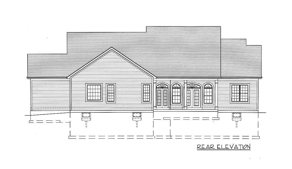 Rear elevation sketch of the single-story 3-bedroom country home.