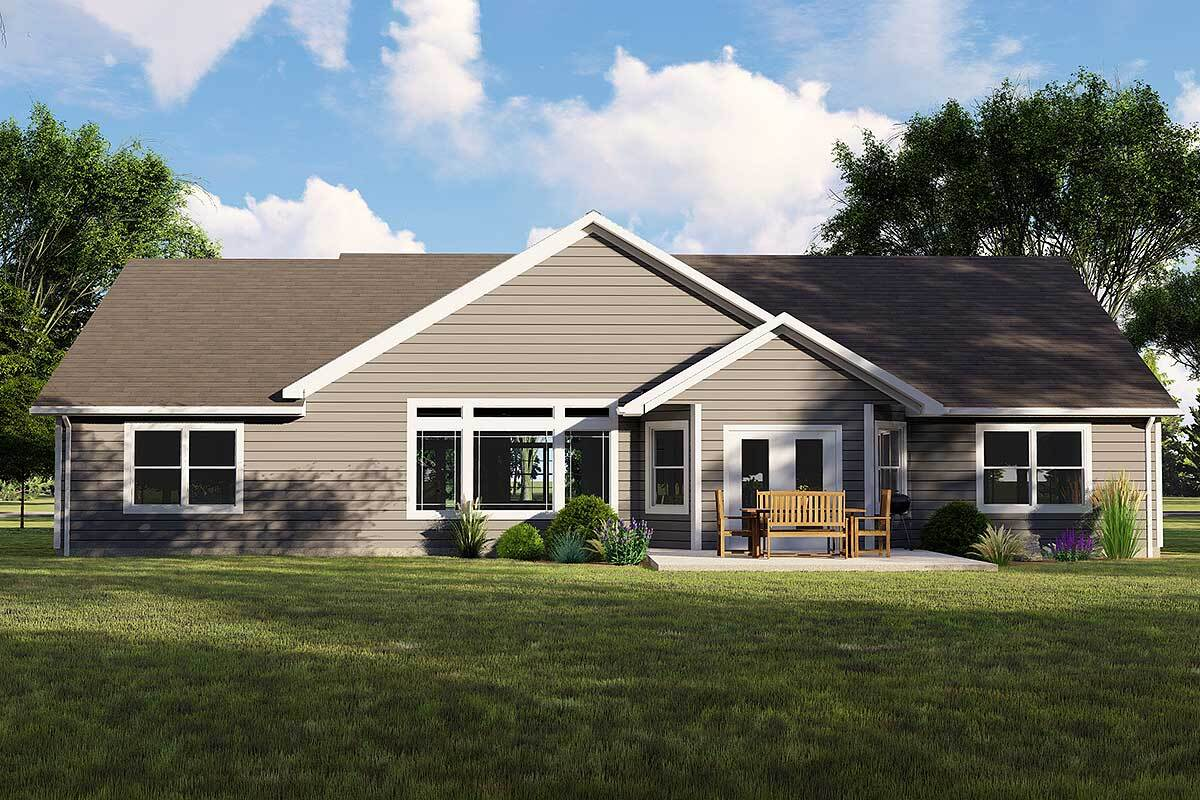 Rear rendering of the single-story 3-bedroom Northwest ranch.