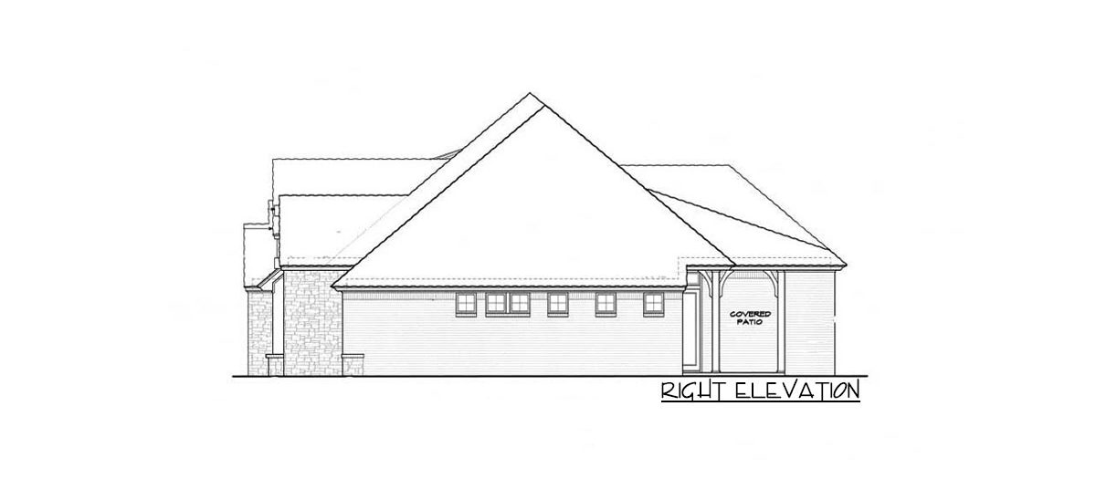 Right elevation sketch of the single-story 4-bedroom hill country home.