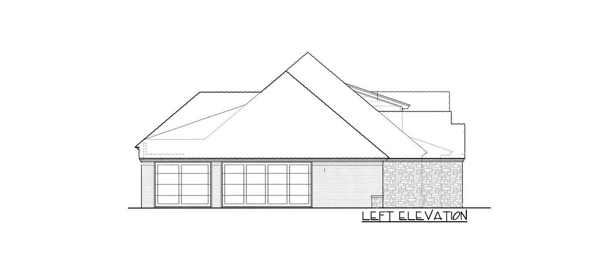 Left elevation sketch of the single-story 4-bedroom hill country home.
