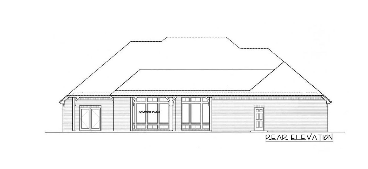 Rear elevation sketch of the single-story 4-bedroom hill country home.