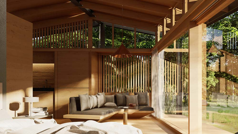 This is a close look at the living room area of the house with a large wooden sofa with cushions by the glass wall.