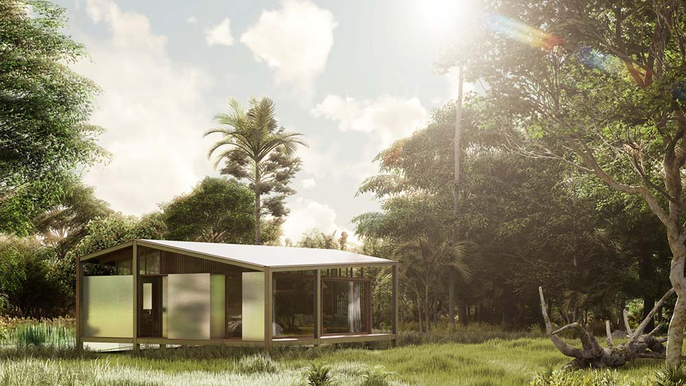 This is a view of the house that seem to shine by reflecting the light of the sun giving it a cooling effect inside.
