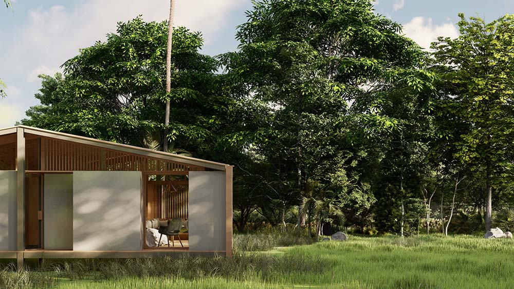 This is a closer look at the walls of the house and the surrounding lush landscape of grass and tall trees.