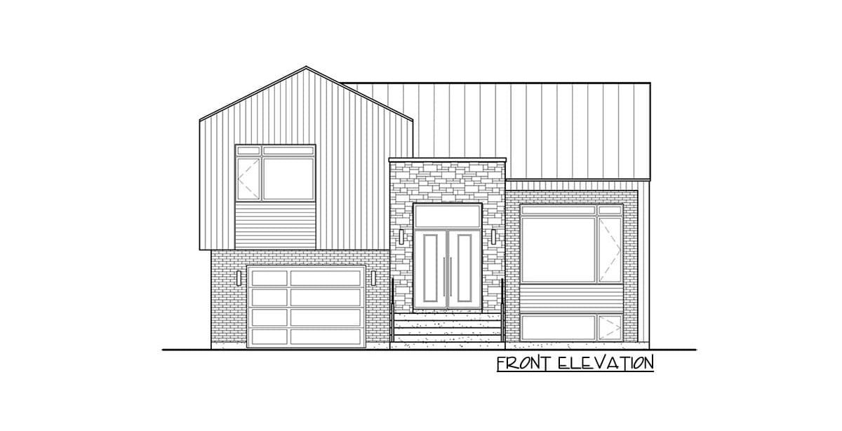Front elevation sketch of the two-story 2-bedroom Northwest home.