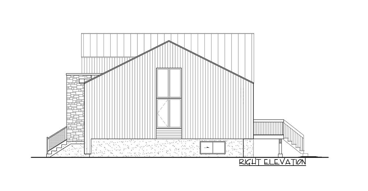 Right elevation sketch of the two-story 2-bedroom Northwest home.