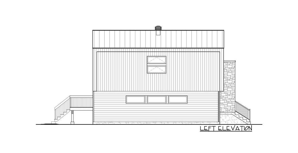 Left elevation sketch of the two-story 2-bedroom Northwest home.