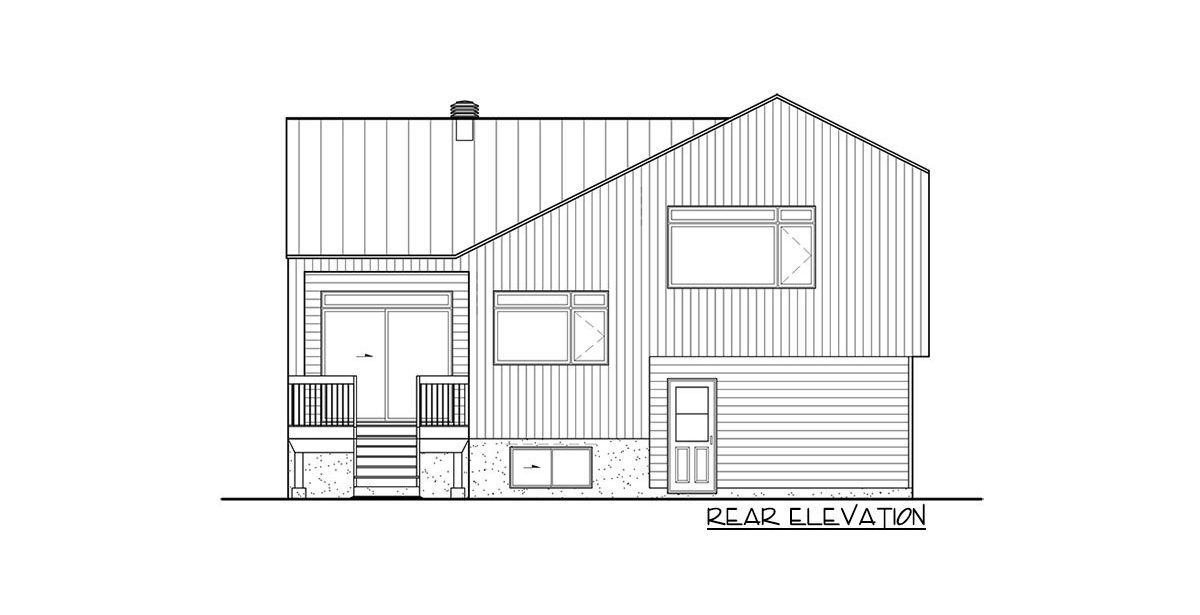 Rear elevation sketch of the two-story 2-bedroom Northwest home.
