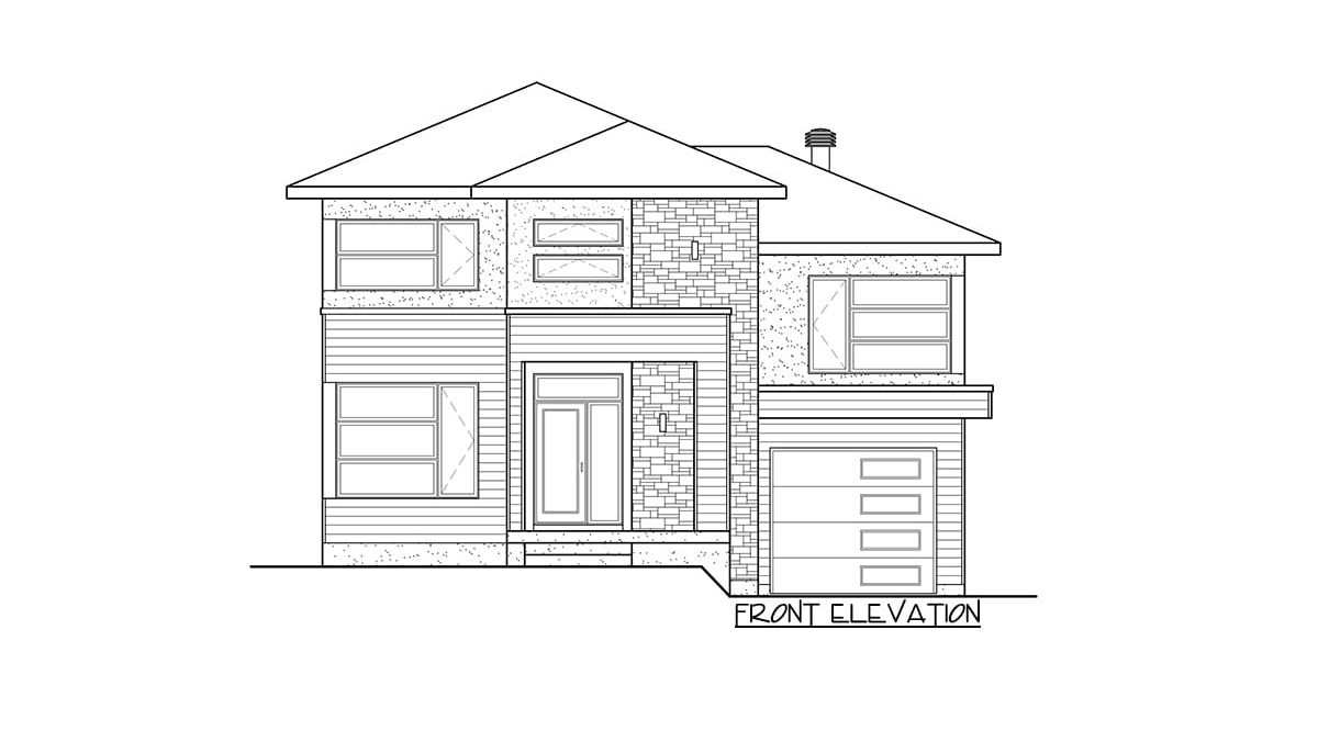 Front elevation sketch of the two-story 3-bedroom contemporary home.