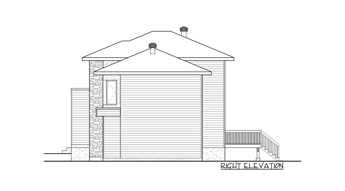 Right elevation sketch of the two-story 3-bedroom contemporary home.