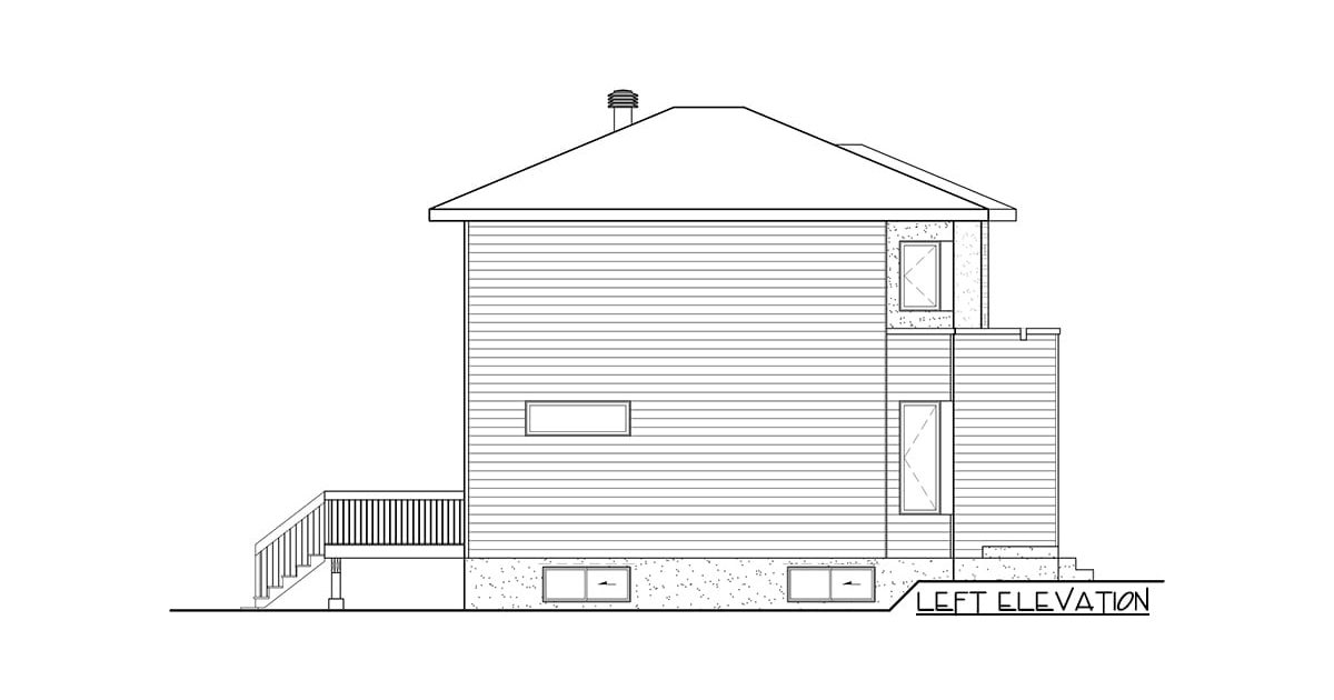 Left elevation sketch of the two-story 3-bedroom contemporary home.