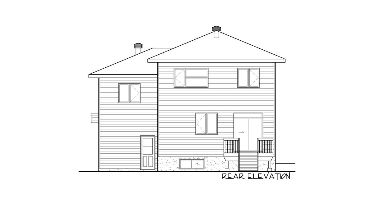 Rear elevation sketch of the two-story 3-bedroom contemporary home.