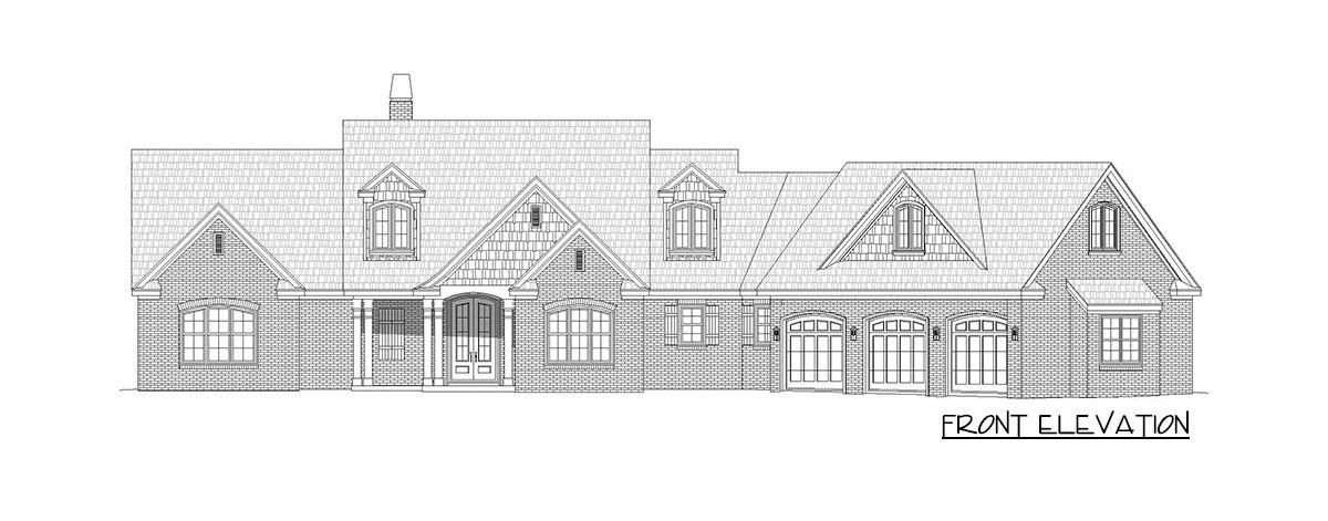 Front elevation sketch of the two-story 3-bedroom country home.