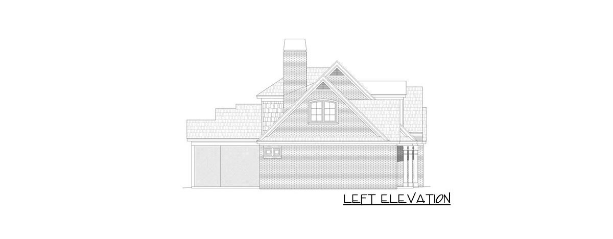 Left elevation sketch of the two-story 3-bedroom country home.