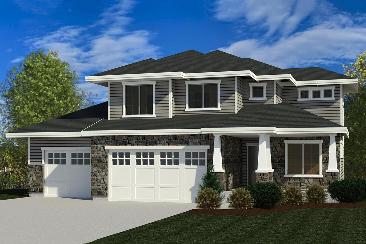 Two-Story 4-Bedroom Country Craftsman Home for a Sloping Lot with a Loft