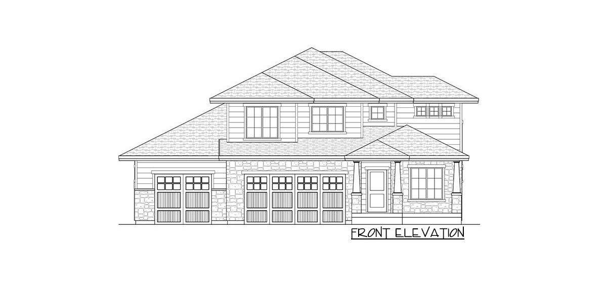 Front elevation sketch of the two-story 4-bedroom country craftsman home.