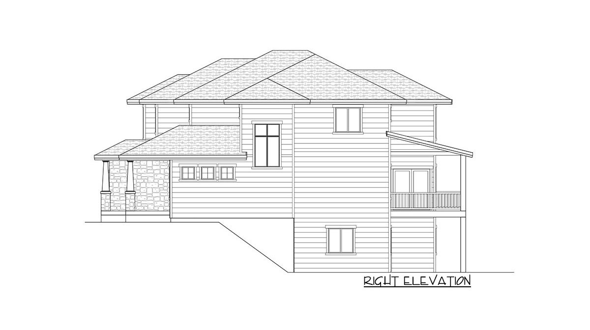 Right elevation sketch of the two-story 4-bedroom country craftsman home.