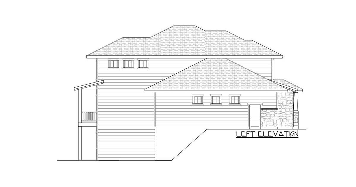 Left elevation sketch of the two-story 4-bedroom country craftsman home.