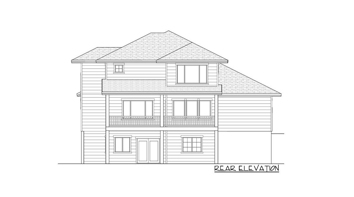 Rear elevation sketch of the two-story 4-bedroom country craftsman home.