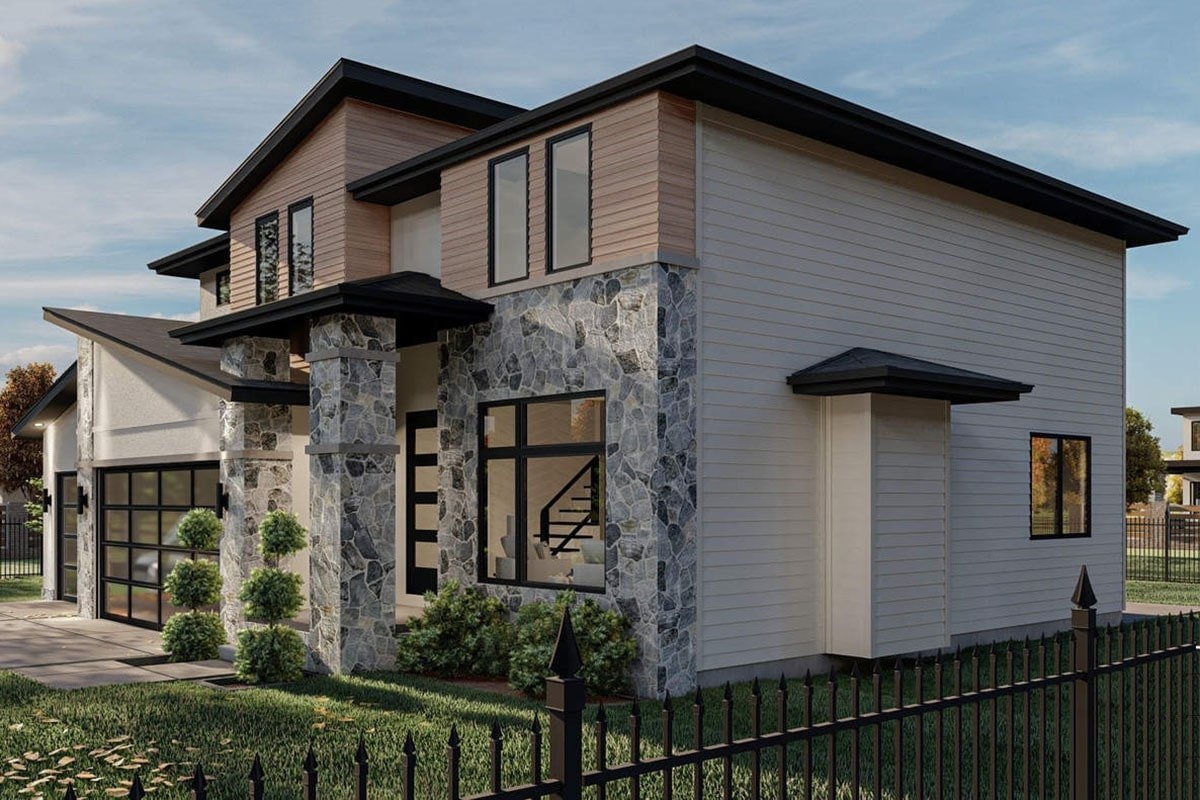 Right rendering of the two-story 4-bedroom modern home.