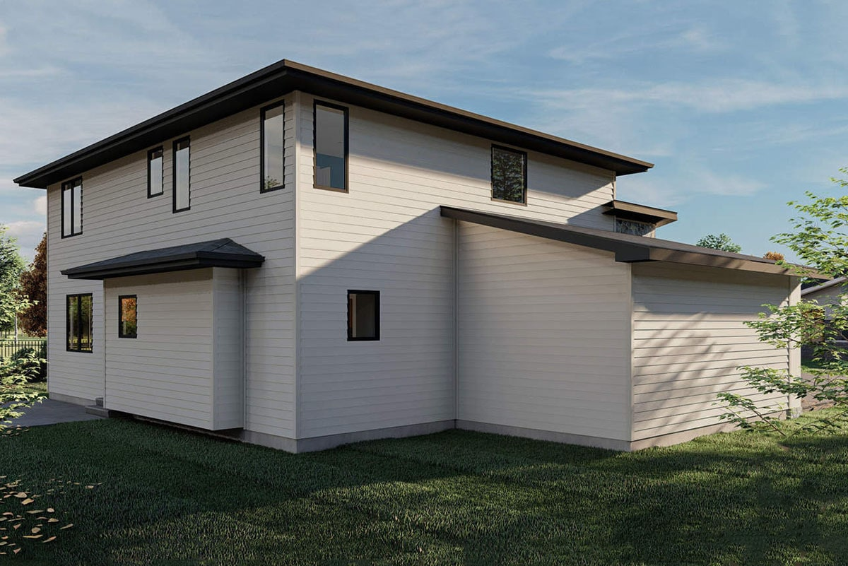 Rear rendering of the two-story 4-bedroom modern home.