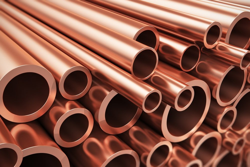 A close look at a bunch of copper tubes.
