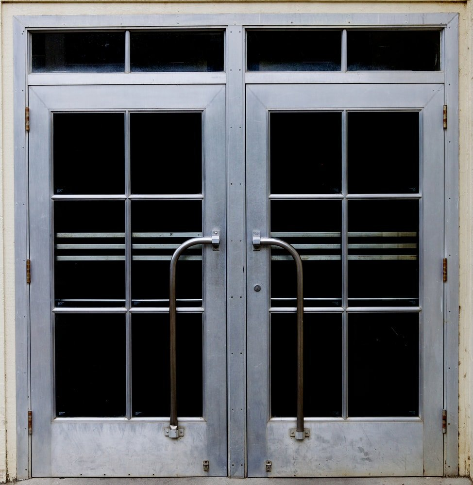This is a metallic set of doors that has a satin finish.