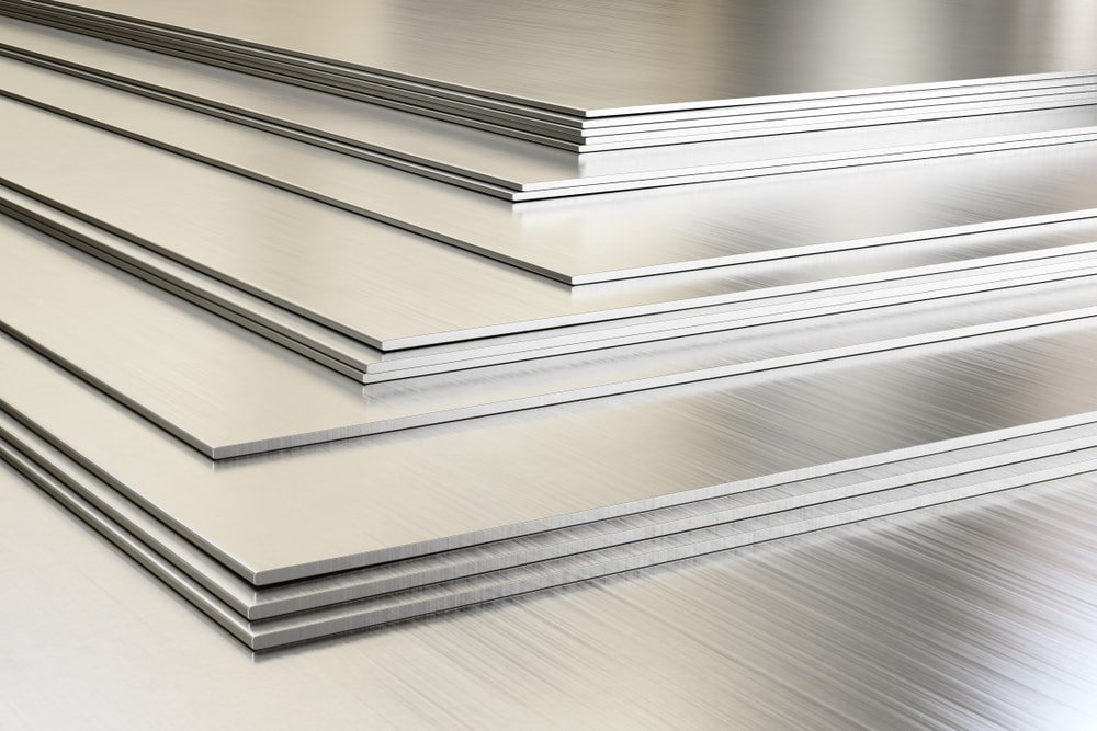 Pieces of stainless steel sheets stacked.