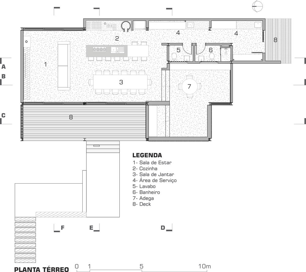 This is an illustration of the house first level floor plan.