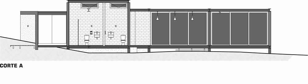 This is an illustration of the cross section of the house featuring the bathrooms.