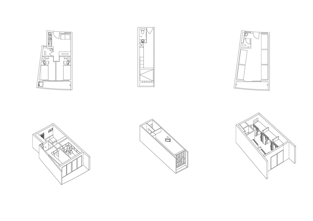 These are illustrations of the various unit types within the collective housing.