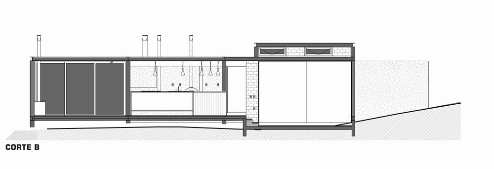 This is an illustration of the cross section of the house featuring the kitchen.