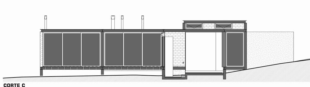 This is an illustration of the cross section of the house featuring section C.