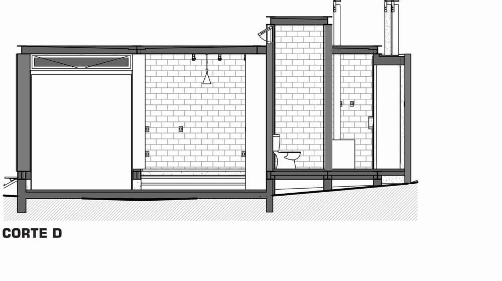 This is an illustration of the cross section of the house featuring section D.