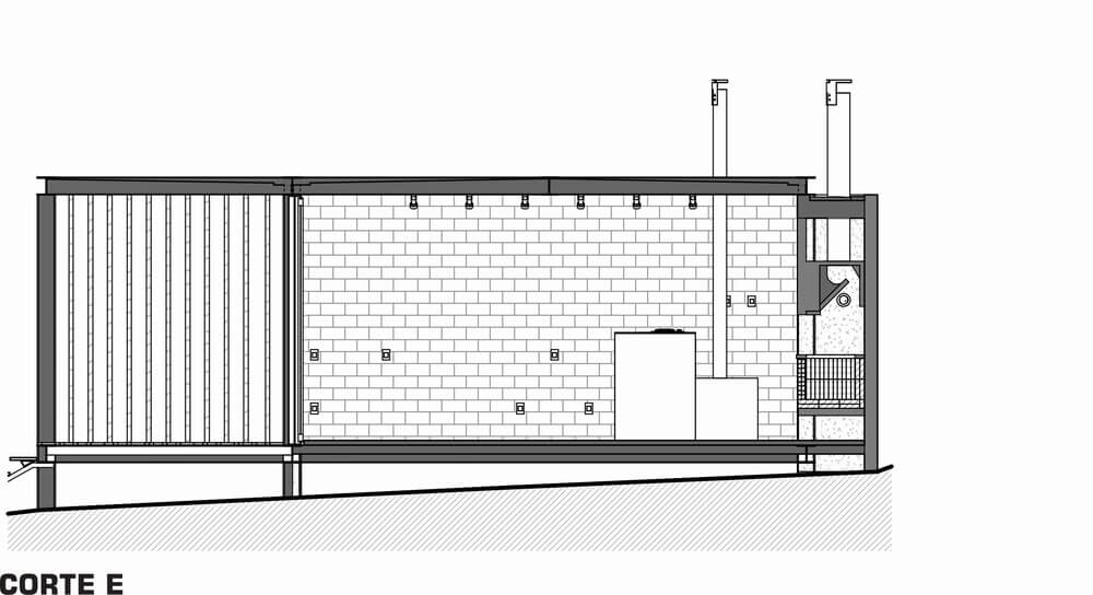 This is an illustration of the cross section of the house featuring section D and the brick walls.
