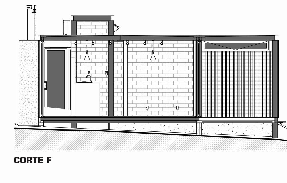 This is an illustration of the cross section of the house featuring the kitchen island.