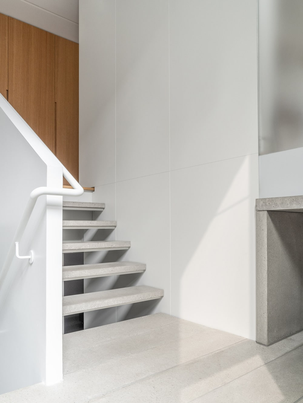 This is a closer look at the alcove by the foyer and the stairs.