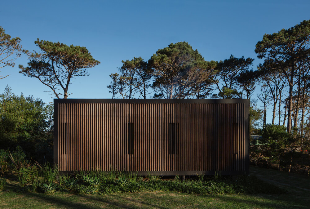 The dark wooden exterior walls of the house is complemented by the surrounding tall trees and shrubs.