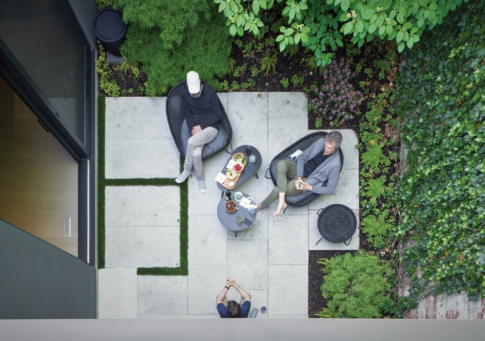 This is a top view of the outdoor patio just outside the glass door.