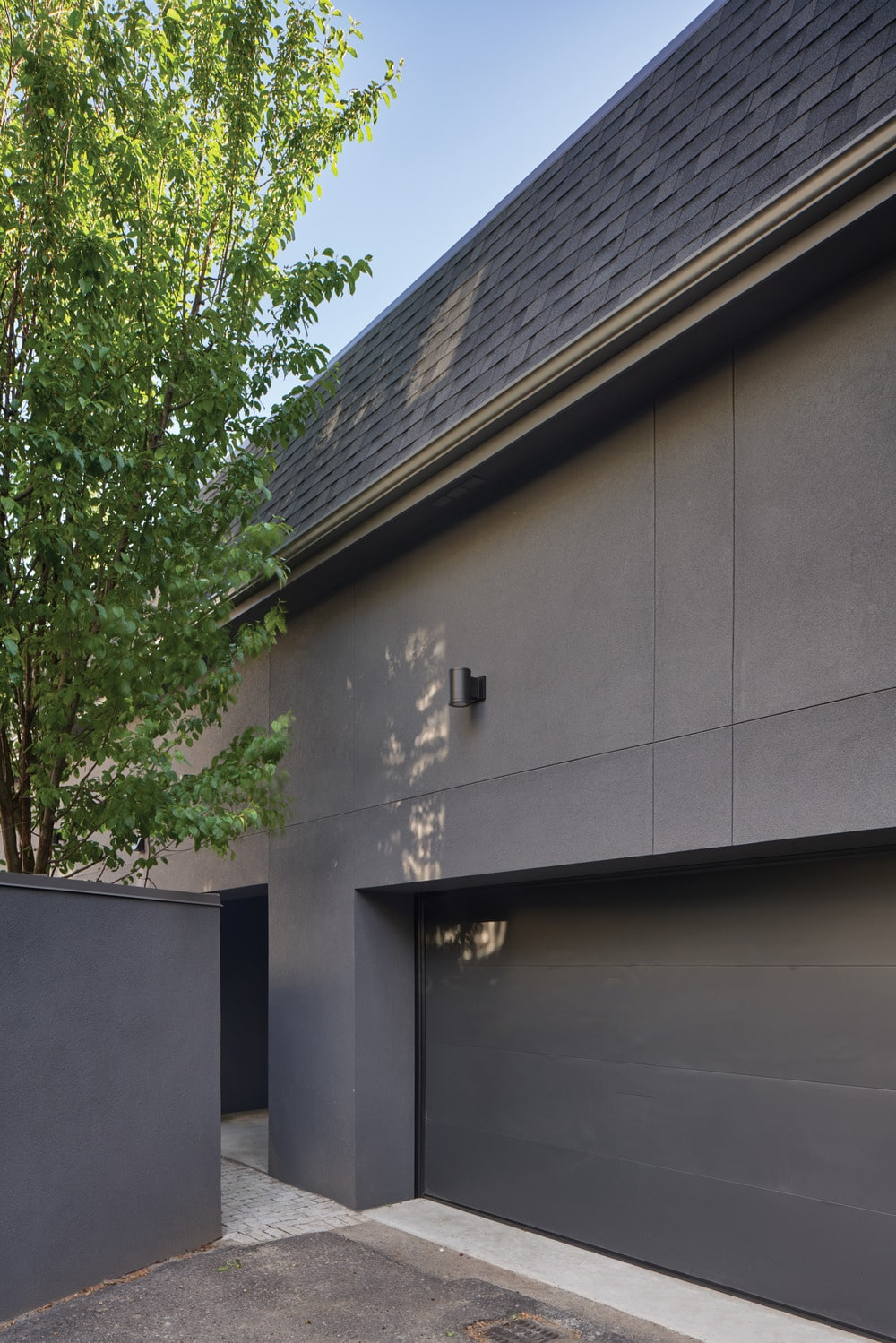 This is a closer look at the garage with a gray tone to match the exteriors.