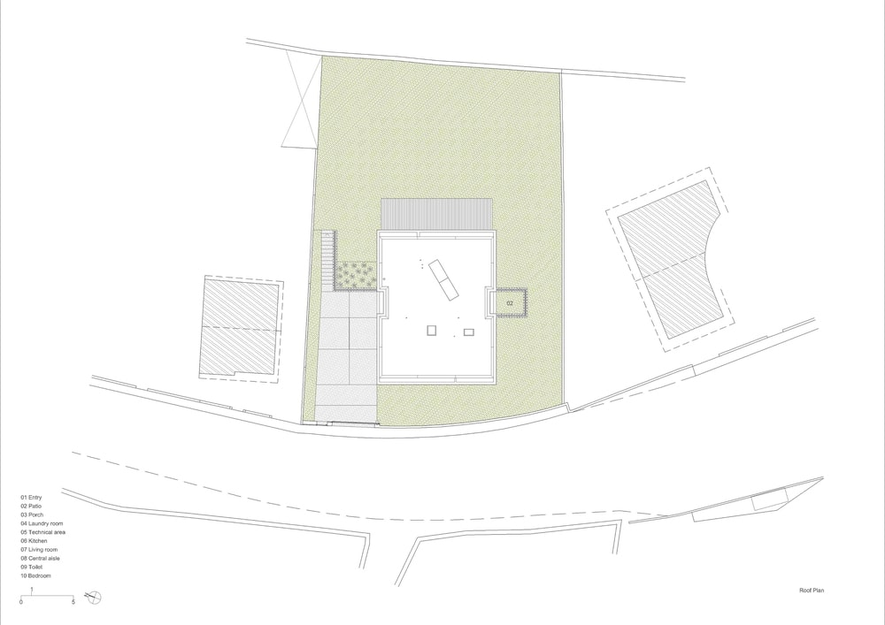 This is the illustration of the roof level floor plan of the house.