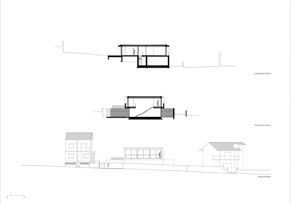 This is an illustration of the longitudinal, transverse and street level elevation of the house.