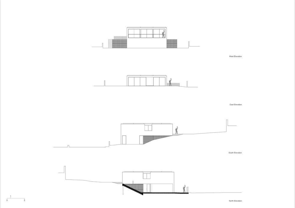 This is an illustration of the West, East, South and North elevations of the house.