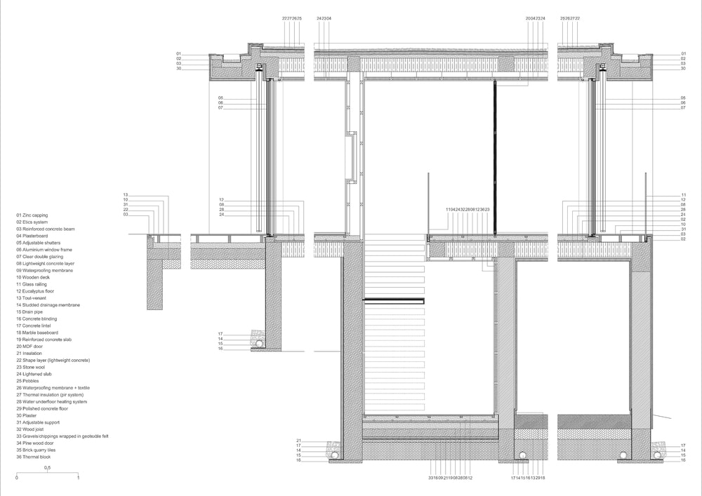This is an illustration of the house's foundation and support beams.