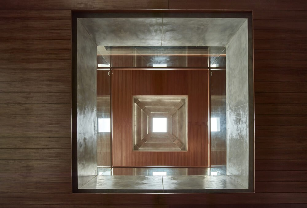 This is a look up the skylight of the indoor balcony from the vantage of the living room.