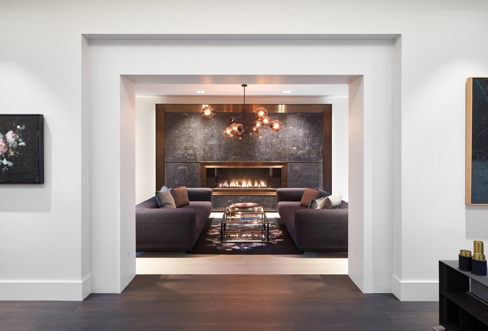 This is a view of the family room from the vantage of the hall through the archway.