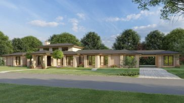 Front rendering of the 3-bedroom single-story contemporary ranch.